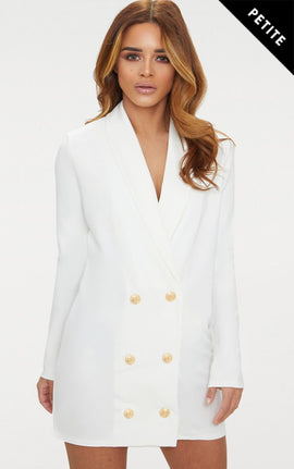 Petite White Gold Button Blazer Dress- White