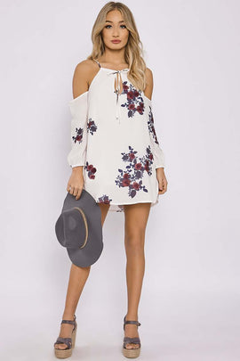 White Dresses - Charlotte Crosby White Floral Tie Neck Cold Shoulder Dress