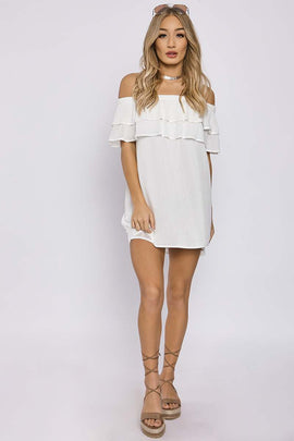 White Dresses - Charlotte Crosby White Double Layer Bardot Dress