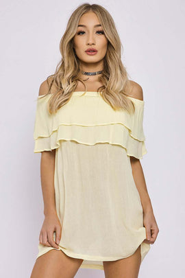 Yellow Dresses - Charlotte Crosby Yellow Double Layer Bardot Dress