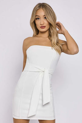 White Dresses - Charlotte Crosby White Tie Front Bandeau Mini Dress