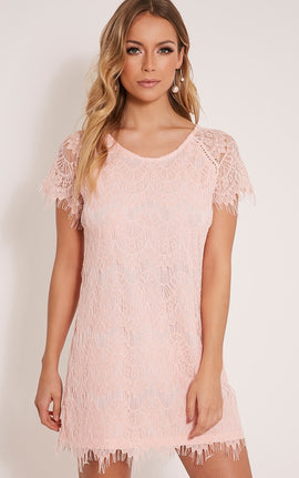 Adara Blush Lace Shift Dress- Pink