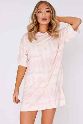 e5ca5fa77397 Pink Dresses - Faythe Pink Tie Dye Oversized t Shirt Dress. In The Style