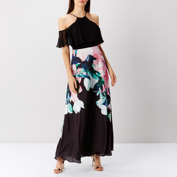 Flamenco Print Maxi Dress