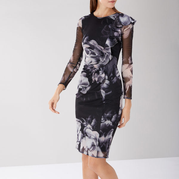 Molly Print Frill Mesh Dress