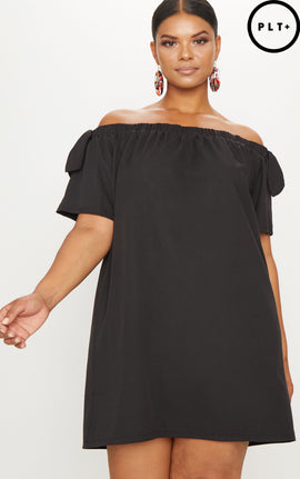 Plus Black Crepe Bardot Swing Dress- Black