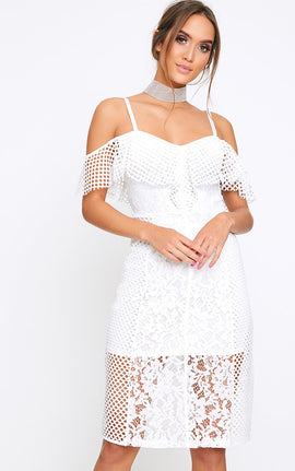 Yezmin White Lace Bardot Midi Swing Dress- White