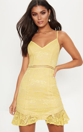Chartreuse Lace Frill Hem Plunge Bodycon Dress- Yellow
