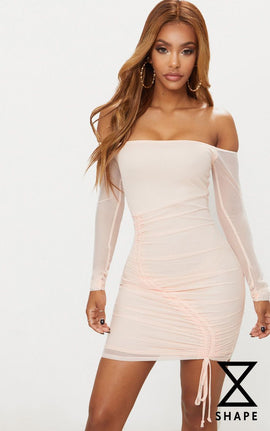 Shape Nude Ruched Mesh Bodycon Dress- Pink