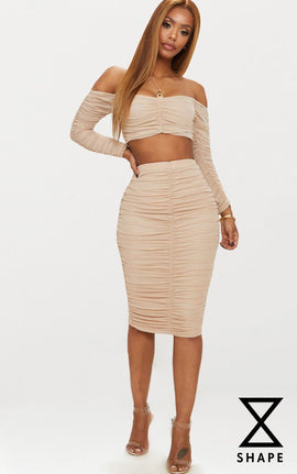 Shape Nude Mesh Ruched Midi Skirt- Pink