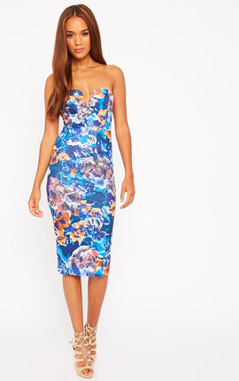 Zenda Floral Bandeau Midi Dress- Multi