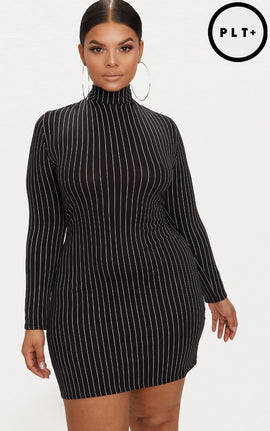 Plus Black Pinstripe High Neck Bodycon Dress- Black