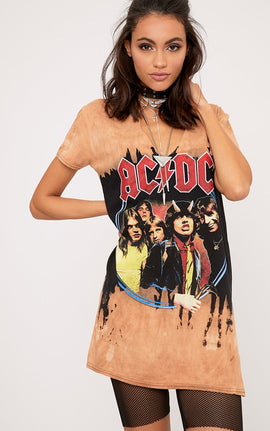 ACDC Cut Out Distressed T shirt Dress- Camel