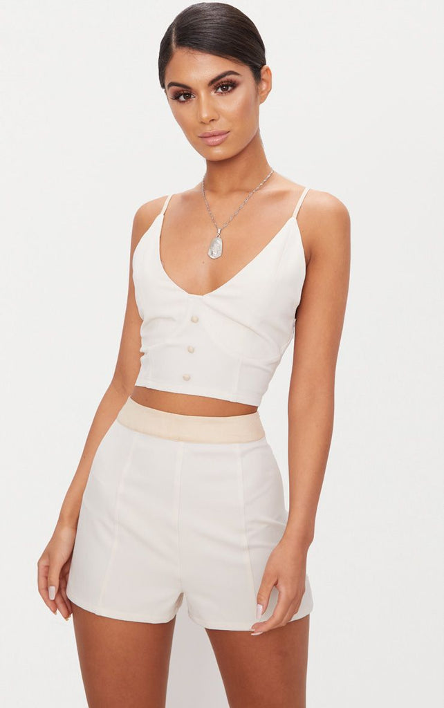 Cream Contrast Waist Band Formal Shorts- White