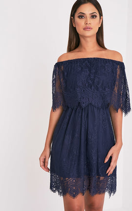 Zoe Navy Eyelash Lace Bardot Dress- Blue