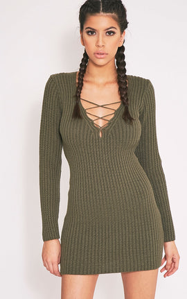 Zosia Khaki Lace Up Knitted Jumper Dress- Green