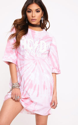ACDC Pink Tie Dye T Shirt Dress- Pink