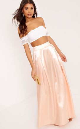 Ruthie Light Peach  Satin Maxi Prom Skirt- Orange