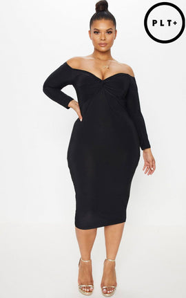 Plus Black Slinky Twist Bardot Midi Dress- Black