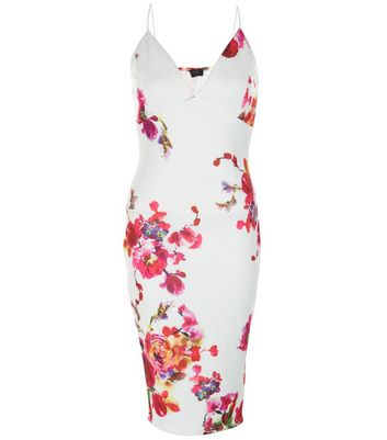 AX Paris Cream Floral Print Plunge Midi Dress New Look