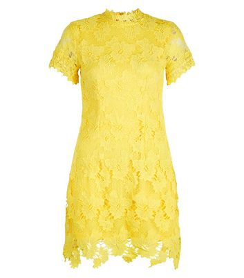 AX Paris Yellow Lace Funnel Neck Dress New Look