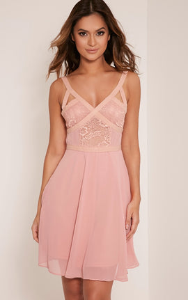 Abela Dusty Pink Lace Panel Skater Dress- Dusty Pink