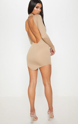 Taupe High Neck Extreme Scoop Back Pointy Hem Bodycon Dress- Brown