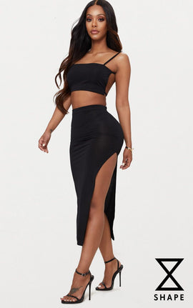 Shape Black Slinky Side Split Midi Skirt- Black