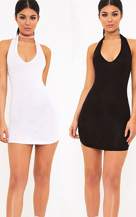 2 White & Black Basic Halterneck Bodycon Dress- Multi