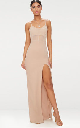 Stone Mesh Panelled Strappy Extreme Split Maxi Dress- Pink