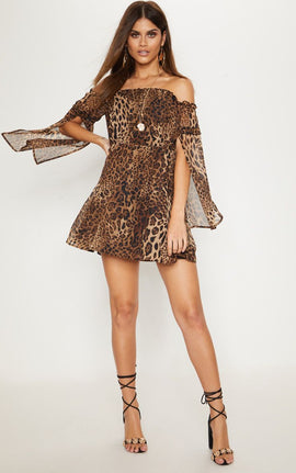 Leopard Print Bardot Split Sleeve Skater Dress- Brown