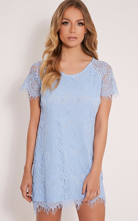 Adara Blue Lace Shift Dress- Blue