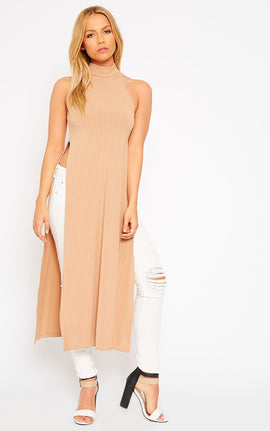 Aaralyn Camel Ribbed Side Split Dress- Camel