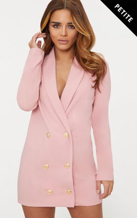 Petite Dusky Pink Gold Button Blazer Dress- Pink