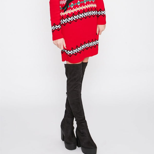 Darina Red Reindeer Christmas Jumper Dress- Red