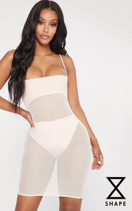 Shape Nude Mesh Panel Bodycon Dress- Pink