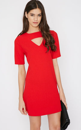 Zona Red Crepe Cut Out Shift Dress- Red