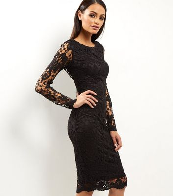 AX Paris Black Crochet Lace Midi Dress New Look