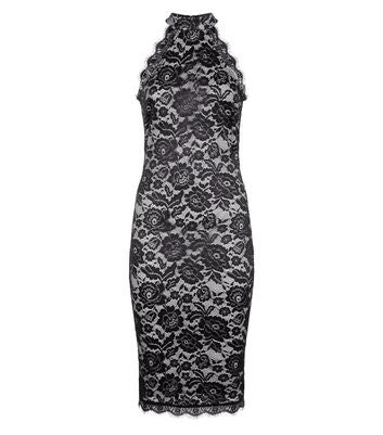 AX Paris Black Lace High Neck Bodycon Dress New Look