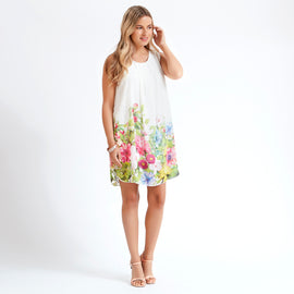 White Summer Floral Tunic Dress