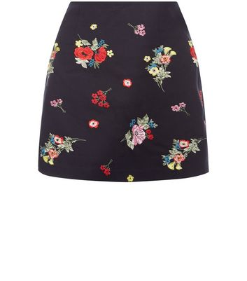 Black Floral Embroidered A-Line Mini Skirt New Look