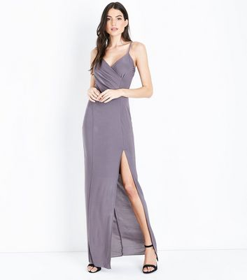 AX Paris Pewter V Neck Split Front Maxi Dress New Look