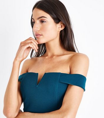 AX Paris Teal Bardot Neck Midi Dress New Look
