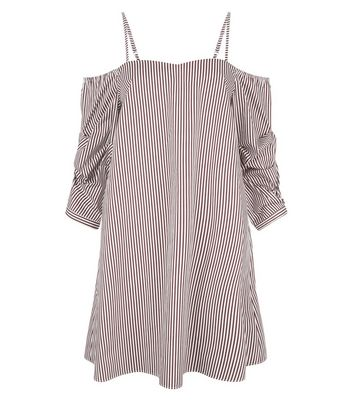 Red Stripe Gathered Sleeve Dress New Look