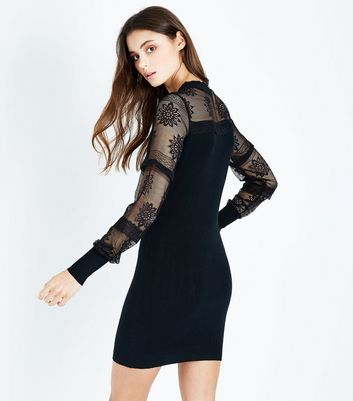 Blue Vanilla Black Lace Balloon Sleeve Dress New Look