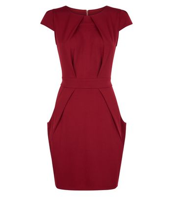 Blue Vanilla Burgundy Tulip Dress New Look