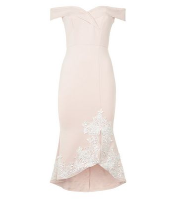 AX Paris Pink Lace Detail Bardot Neck Dress New Look