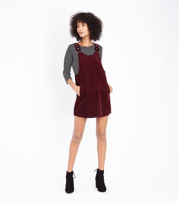 Burgundy Corduroy Pinafore Dress New Look