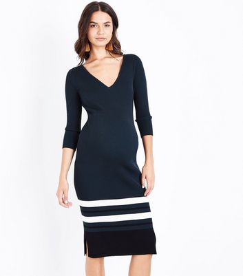 Maternity Dark Green Lattice Back Ribbed Bodycon Dress New Look