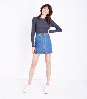 Blue Denim Button Front Skirt New Look